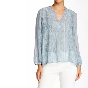 JOIE SILK WHITE/BLUE BOHO TOP S
